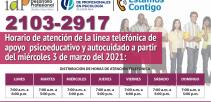 afiche digital con la presentación del servicio Estamos contigo y horarios