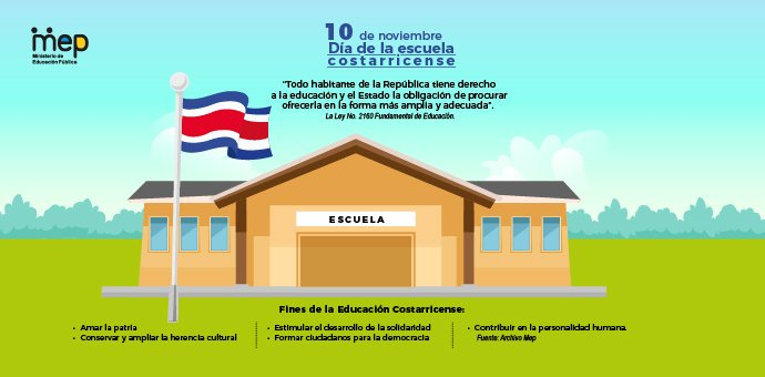 Afiche digital que ilustra la efeméride del día con una escuela en un paisaje