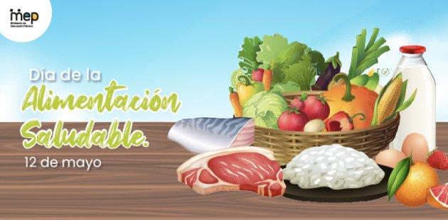 Se ilustra un platón de frutas, verduras, legumbres, carnes y cereales.