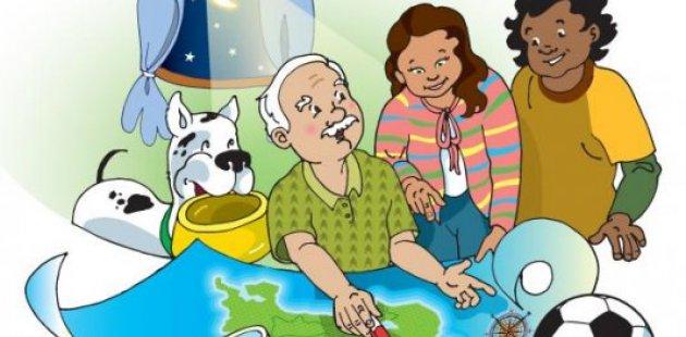 Dos jóvenes en casa estudiando con su abuelo y un perro