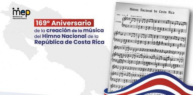 Imagen sobre las notas del Himno Nacional de Costa Rica.