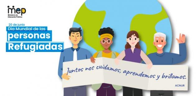 Afiche con personas de diferentes nacionalidades sosteniendo un banner.