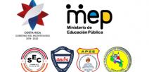 Fotografía muestra los logos de las instituciones y sindicatos que firman
