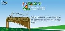 """Se ilustra una marimba con diseño folklórico costarricense diciendo """"Zumba que.."""