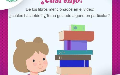 Una niña, al frente una columna de libros
